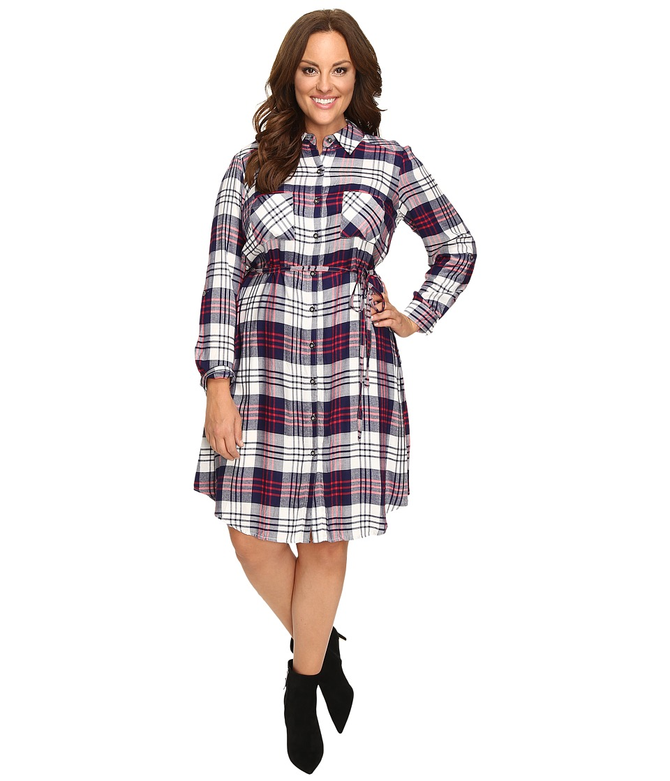 Christin Michaels - Plus Size Lakeland Plaid Dress (Navy/Ivory) Women's Dress