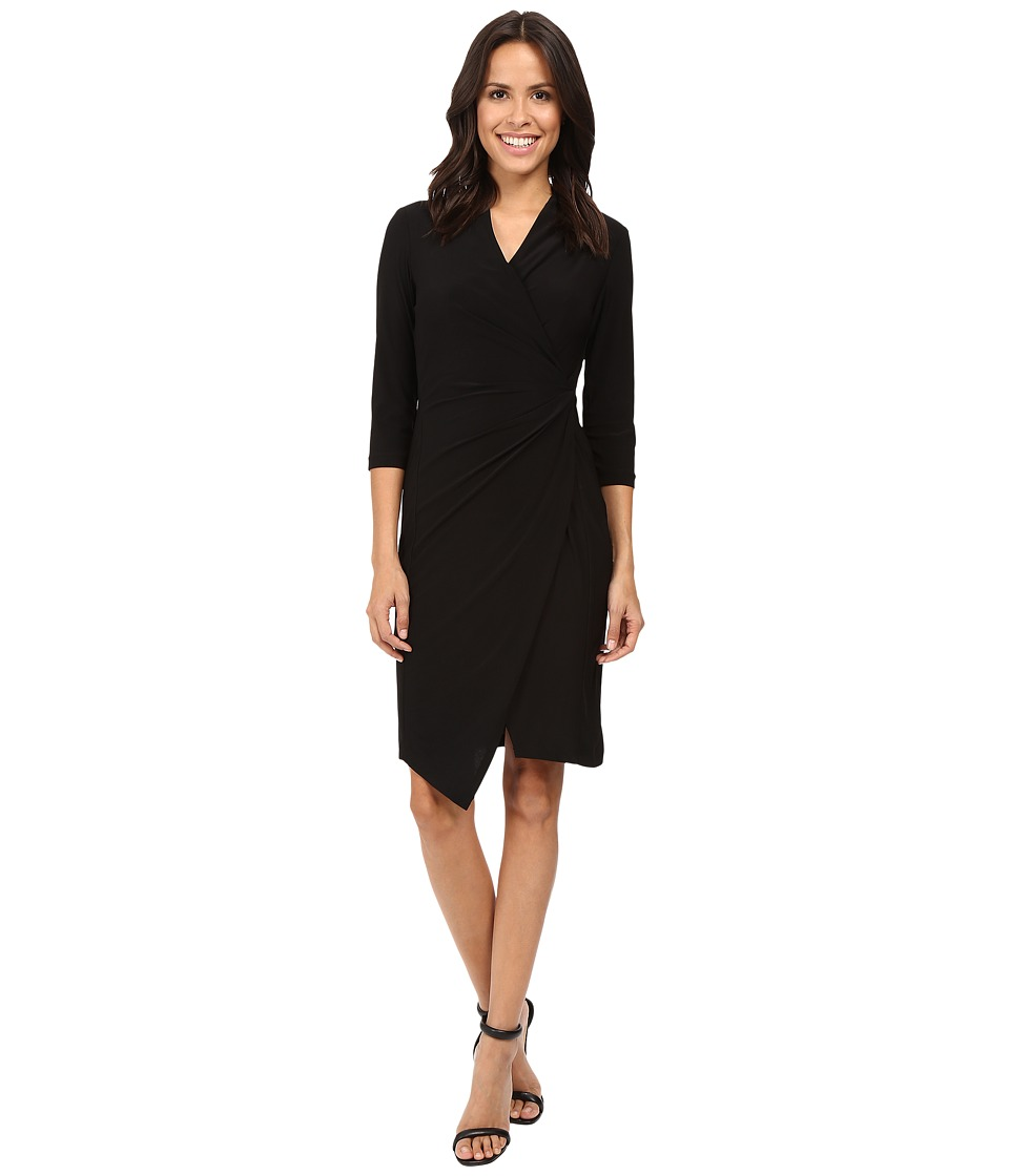 Christin Michaels - Loretto Surplice Dress (Black) Women's Dress