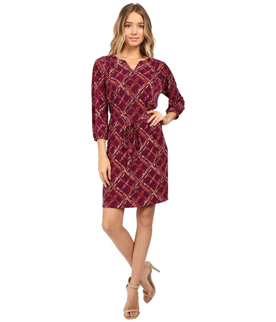 Christin Michaels - Kingsport Plaid Tie Waist Dress (Plum) Women's Dress