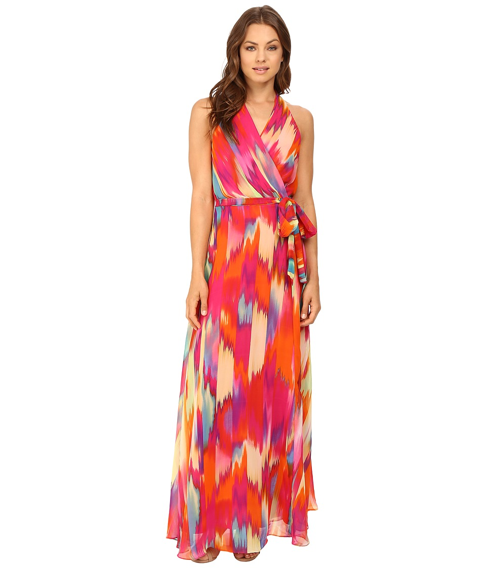 Christin Michaels - Liberty Surplice Maxi (Fruitpunch/Orange) Women's Dress