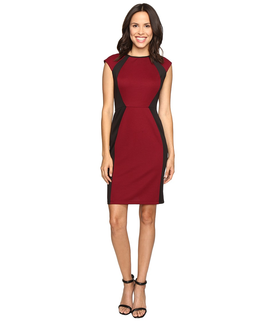 Christin Michaels - Savannah Knit Sheath Dress (Wine/Black) Women's Dress