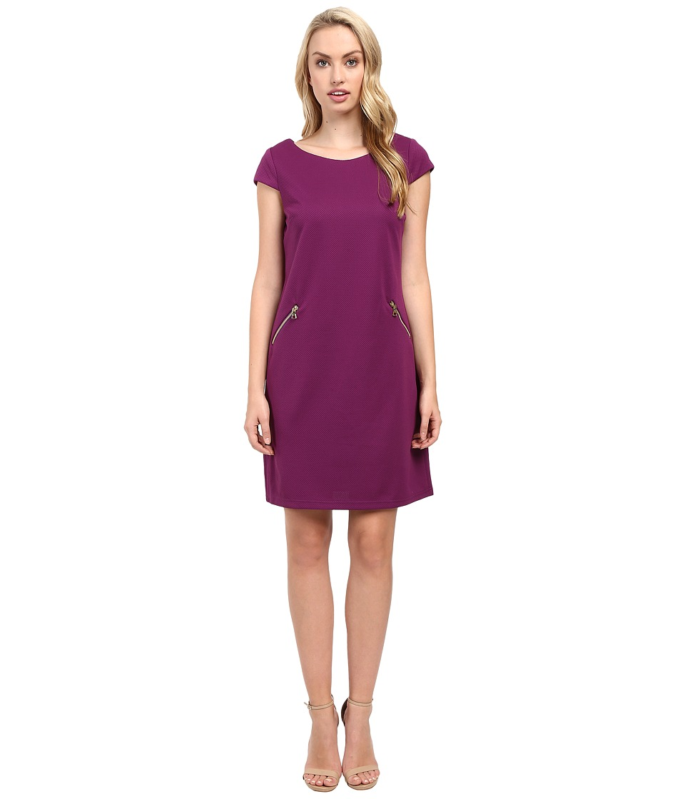 Christin Michaels - Sarah Cap Sleeve Shift Dress (Boysenberry) Women's Dress