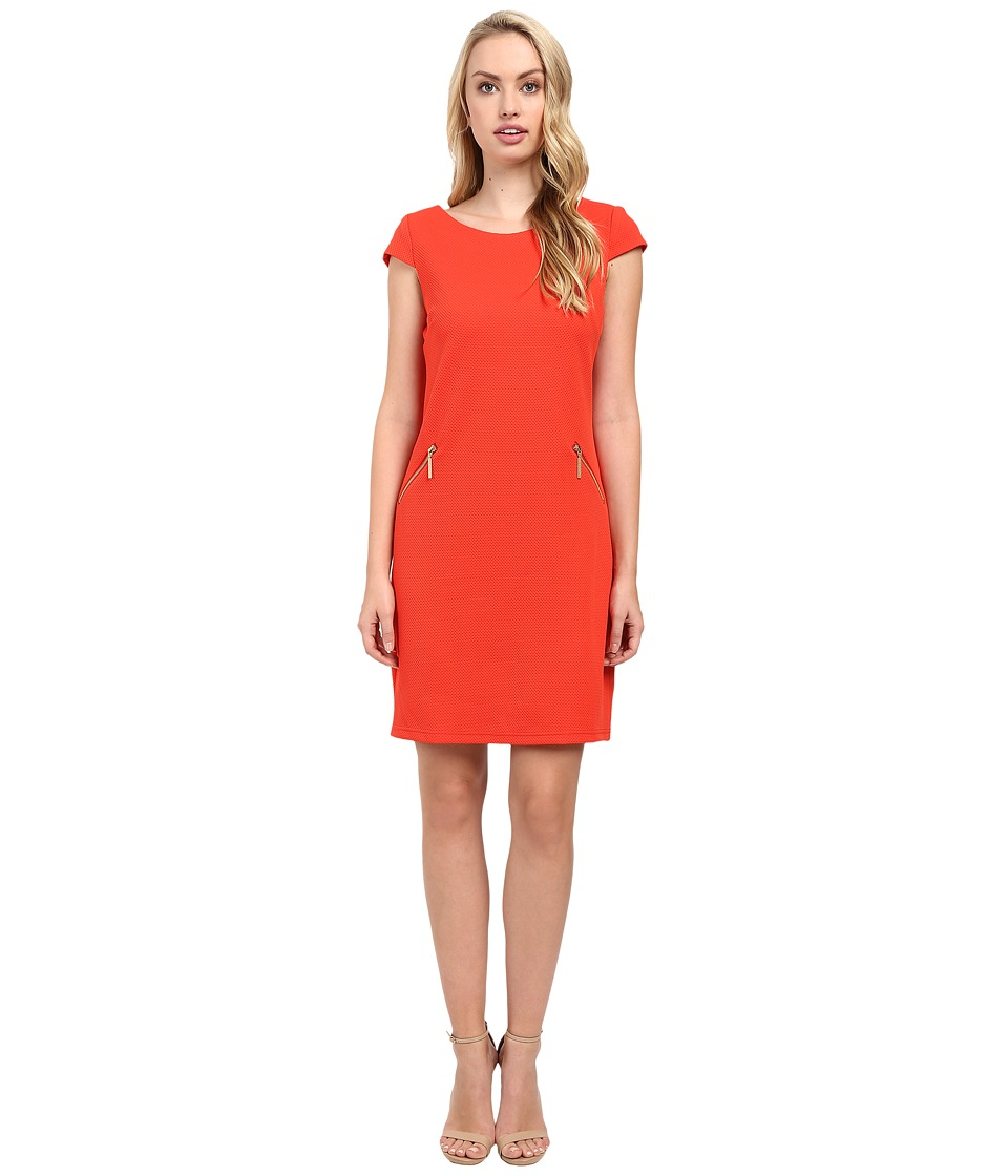 Christin Michaels - Sarah Cap Sleeve Shift Dress (Blood Orange) Women's Dress