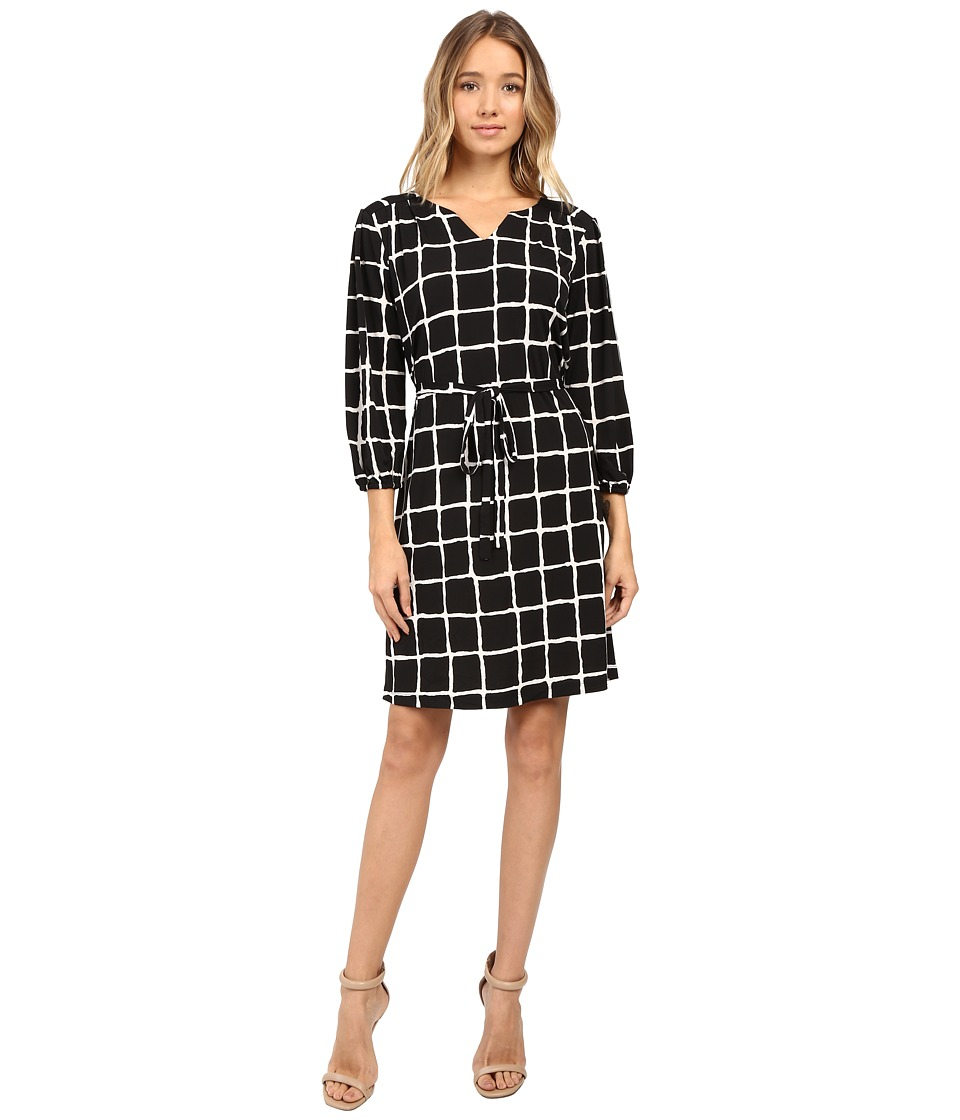 Christin Michaels - Lafayette Grid Print Dress (Navy/Ivory) Women's Dress