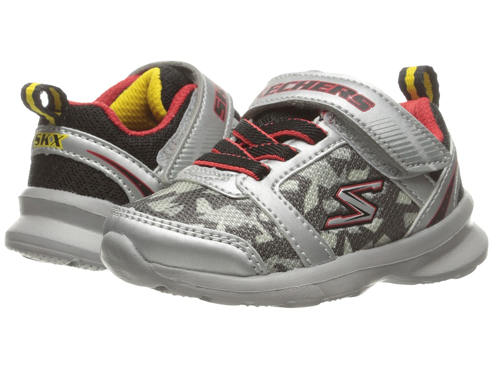 SKECHERS KIDS - Skech Steps (Toddler/Little Kid) (Silver/Red) Boy's Shoes