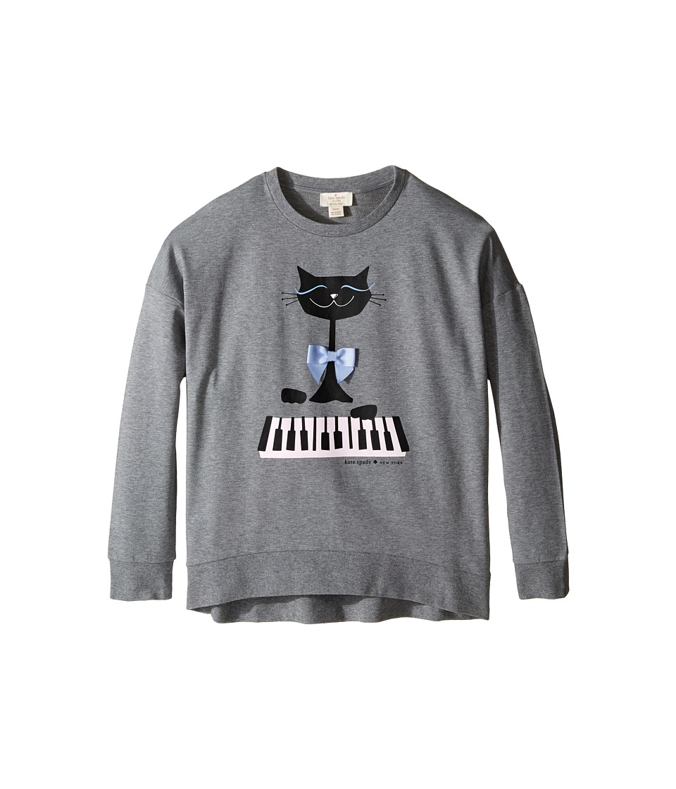 Kate Spade New York Kids - Cat Sweatshirt (Little Kids/Big Kids) (Heather Grey) Girl's Sweatshirt