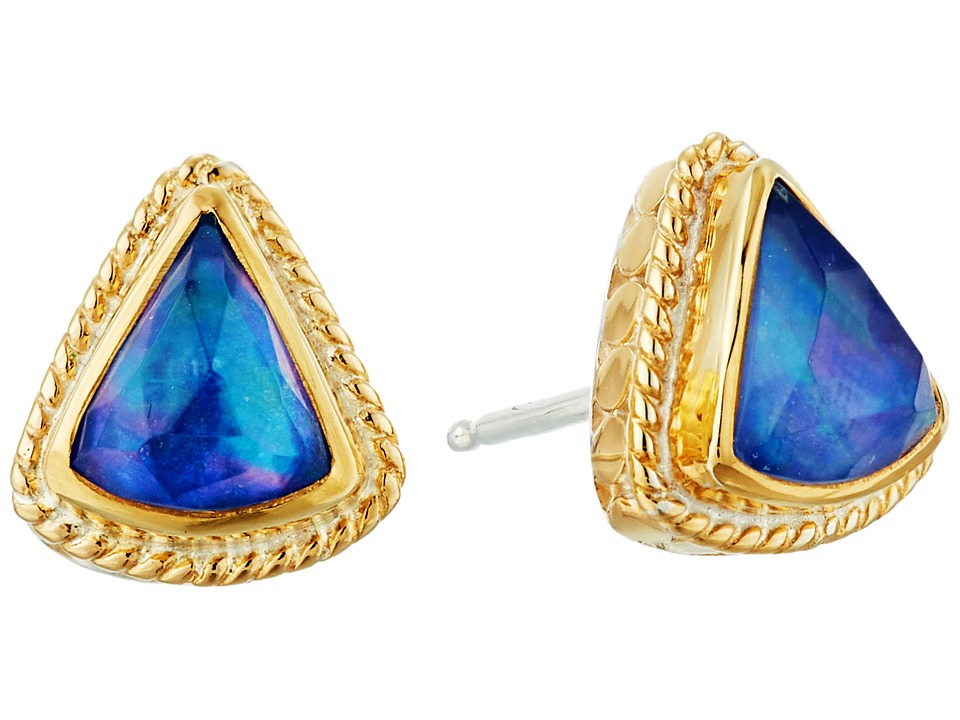 Anna Beck - Lapis Triplet Fan Stud Earrings (Gold/Silver) Earring