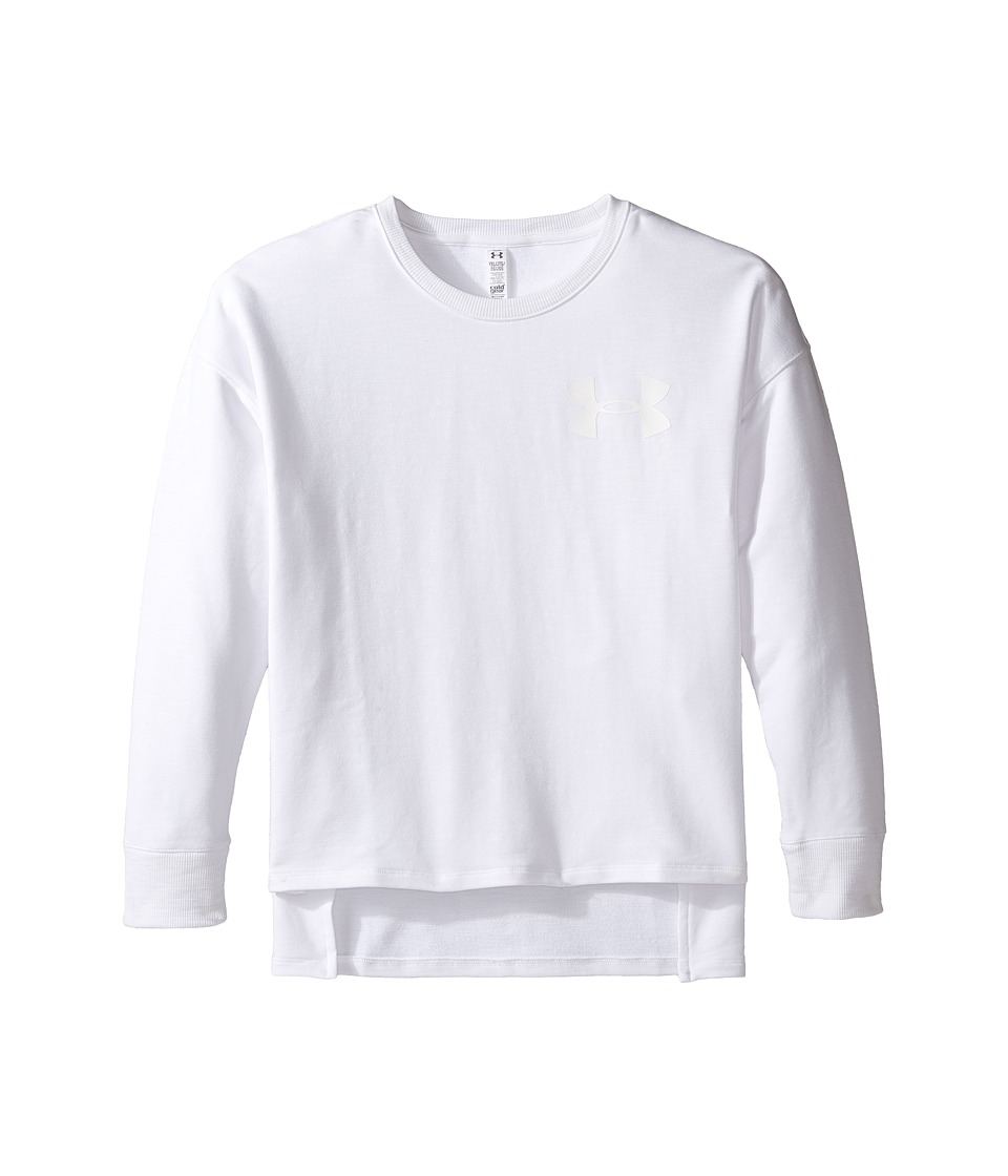 Under Armour Kids - French Terry Crew (Big Kids) (White) Girl's Clothing