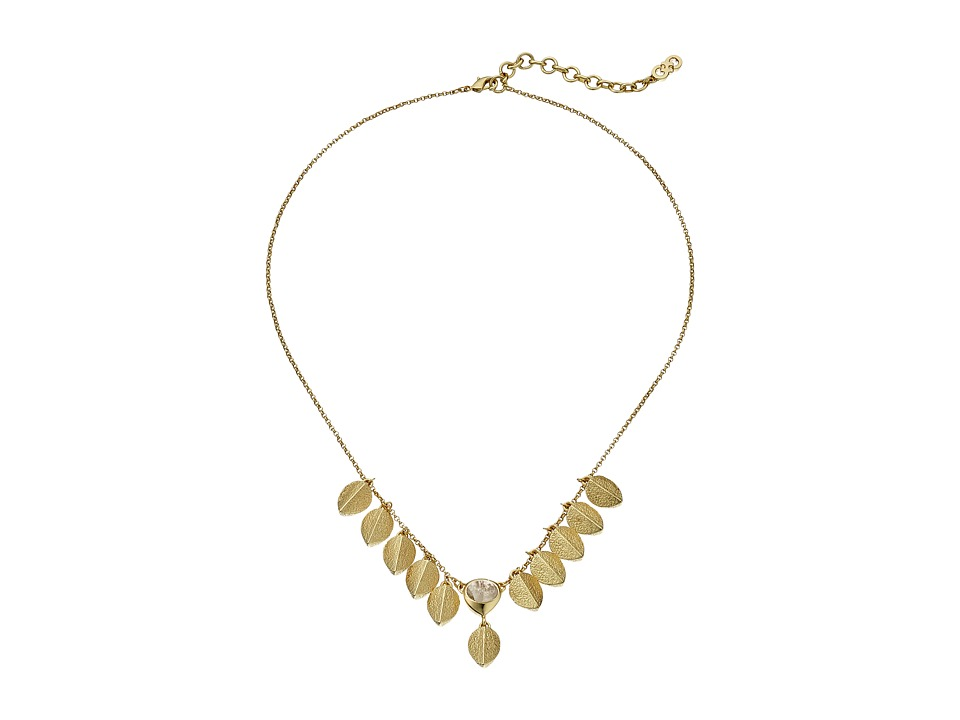 Cole Haan - 16 Metal Fringe and Stone Necklace (Gold) Necklace