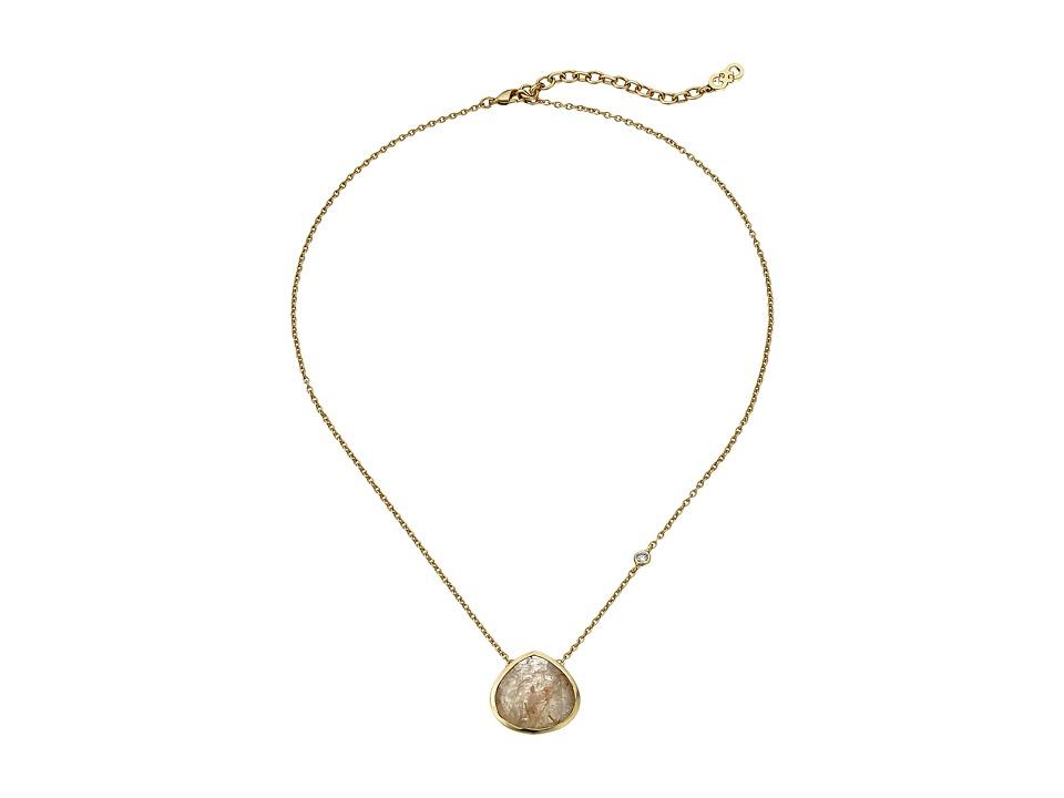 Cole Haan - 16 Semi Necklace (Gold/Sandy Quartz) Necklace