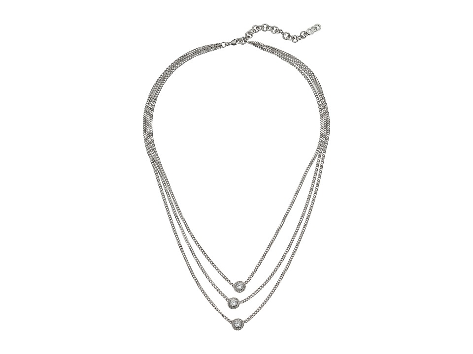 Cole Haan - 18 3 Layer CZ Necklace (Light Rhodium/CZ) Necklace