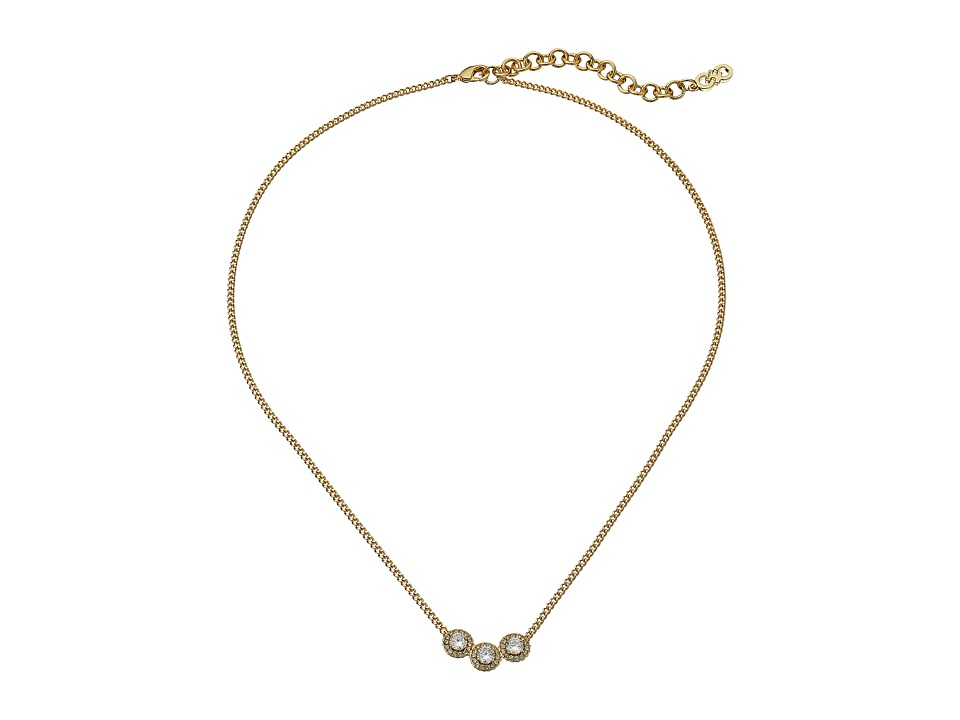 Cole Haan - 16 3 CZ Necklace (Gold/CZ) Necklace