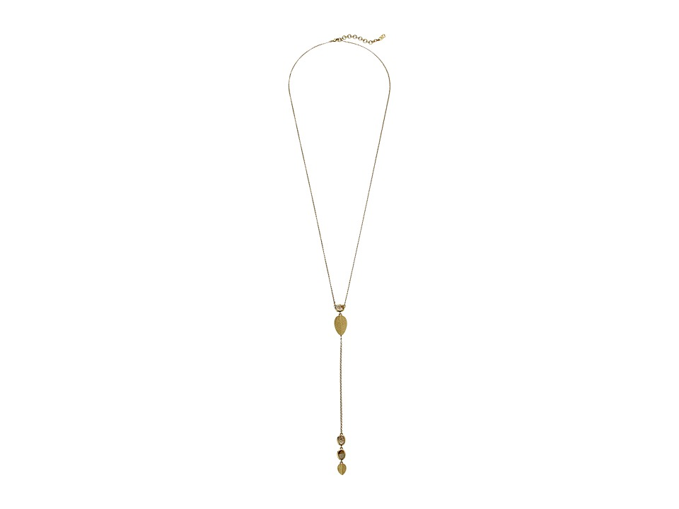 Cole Haan - 28 Stone and Metal Y Necklace (Gold) Necklace