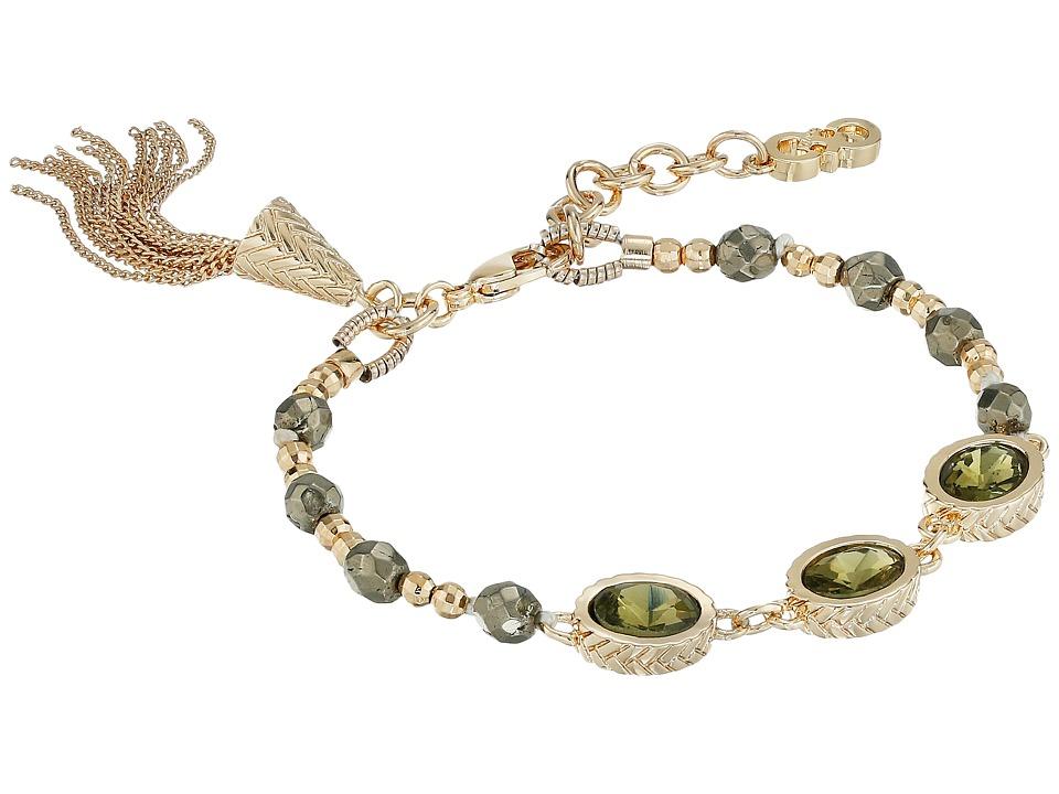 Cole Haan - 3 Stone Beaded Pull Tie Bracelet (Gold/Khaki) Bracelet
