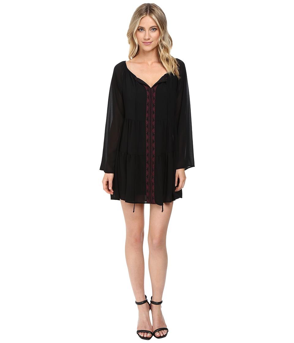 Brigitte Bailey - Jellico Babydoll Dress (Black/Burgundy) Women's Dress