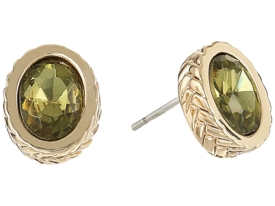 Cole Haan - Stone Stud Earrings II (Gold/Khaki) Earring