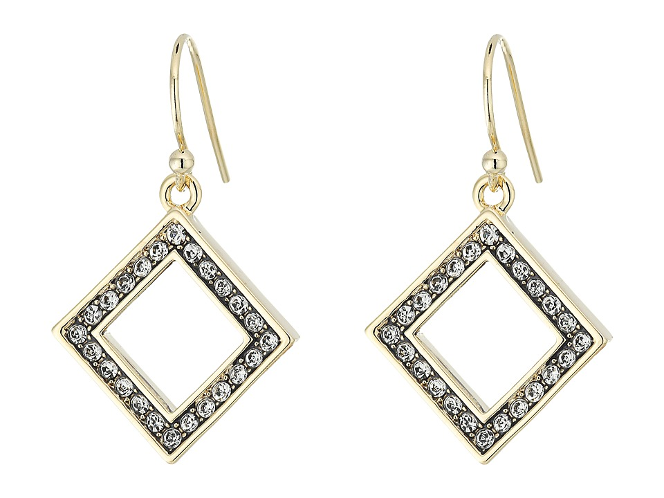 Cole Haan - Open Diamond Drop Earrings (Gold/Crystal) Earring