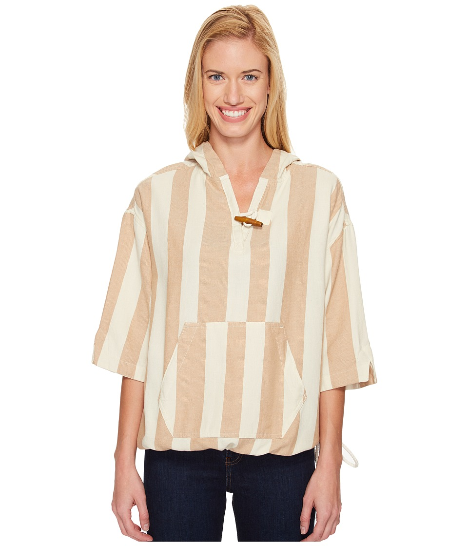 Woolrich - Standing Wave Eco Rich Poncho (Camel Stripe) Women's Sweater
