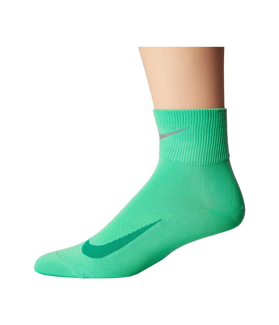 Nike Elite Run Lightweight 2.0 Quarter (Electro Green/Reflect Silver) Quarter Length Socks Shoes