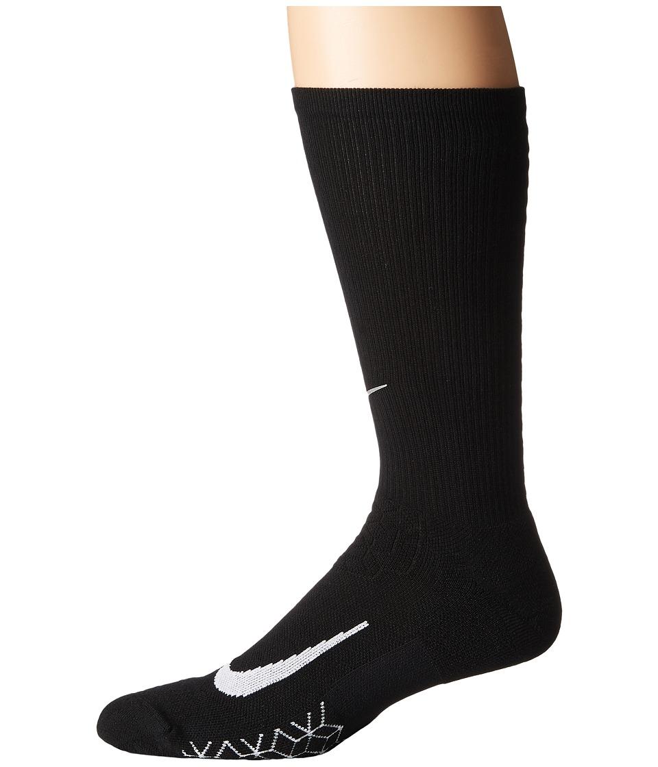 Nike Elite Running Cushion Crew Socks (Black/White) Crew Cut Socks Shoes