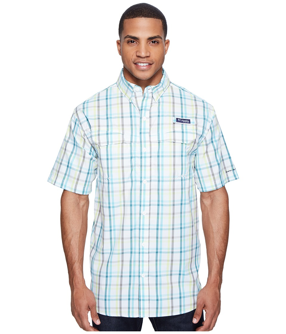Columbia - Super Low Dragtm Short Sleeve Shirt (Gult Stream Open Check) Men's Short Sleeve Button Up