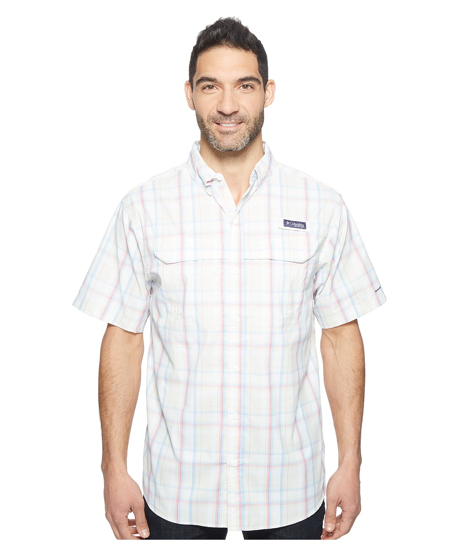 Columbia - Super Low Dragtm Short Sleeve Shirt (Stone Multi Plaid) Men's Short Sleeve Button Up