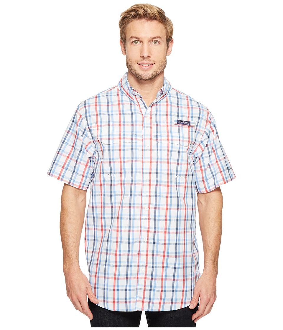 Columbia - Super Low Dragtm Short Sleeve Shirt (White Open Check) Men's Short Sleeve Button Up