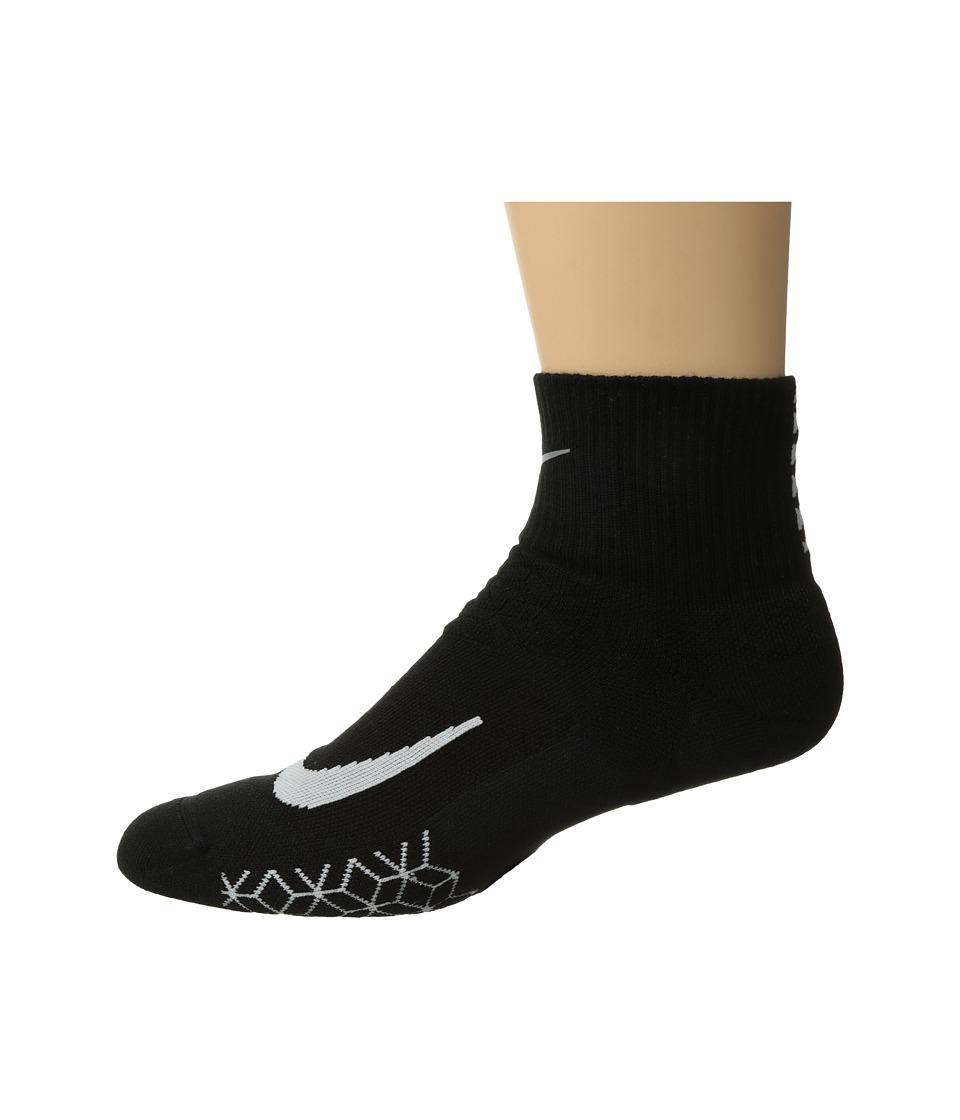 Nike Elite Cushion Quarter Running Socks (Black/White) Quarter Length Socks Shoes