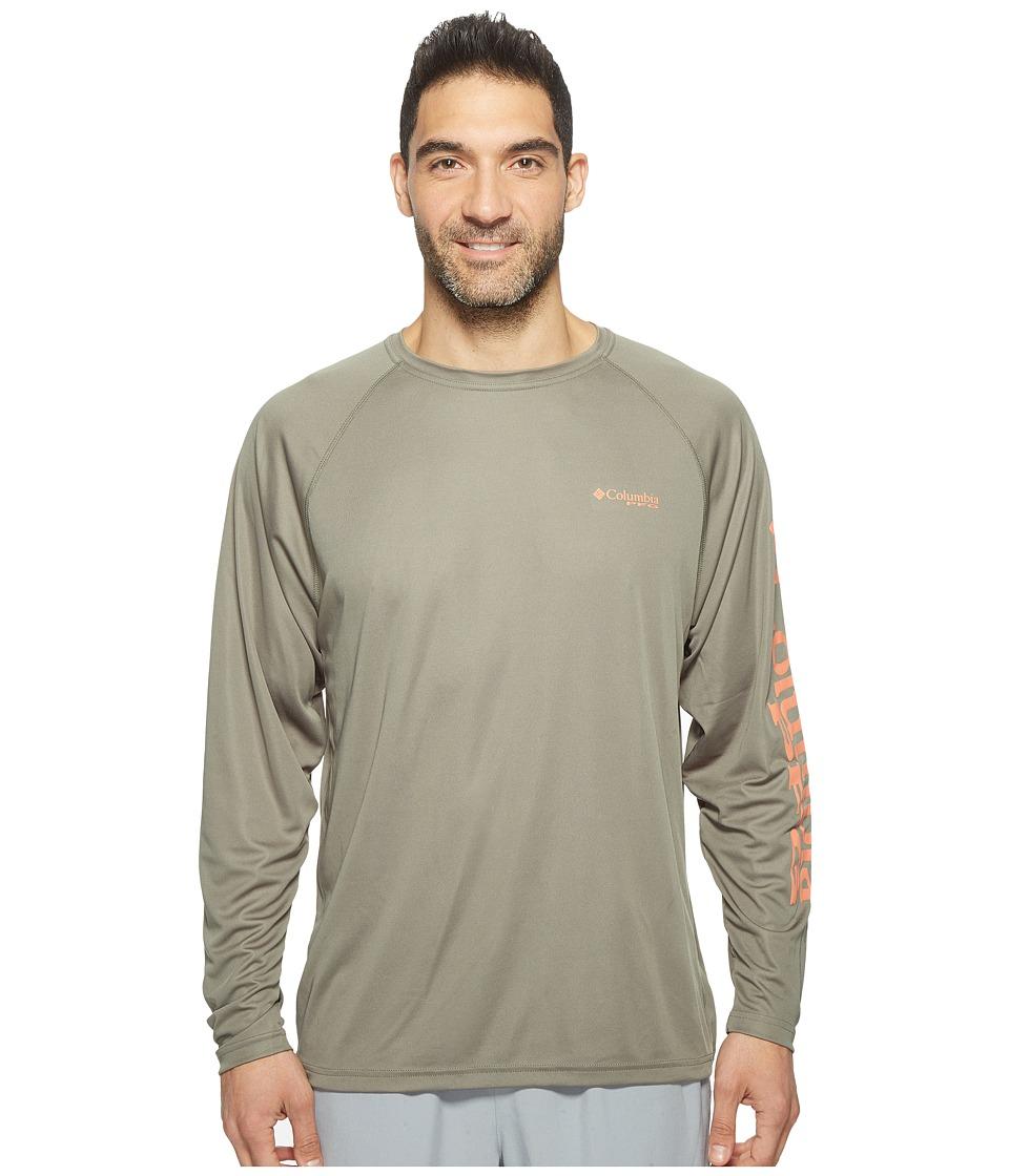 Columbia - Terminal Tackletm L/S Shirt (Cypress/Bright Peach Logo) Men's T Shirt