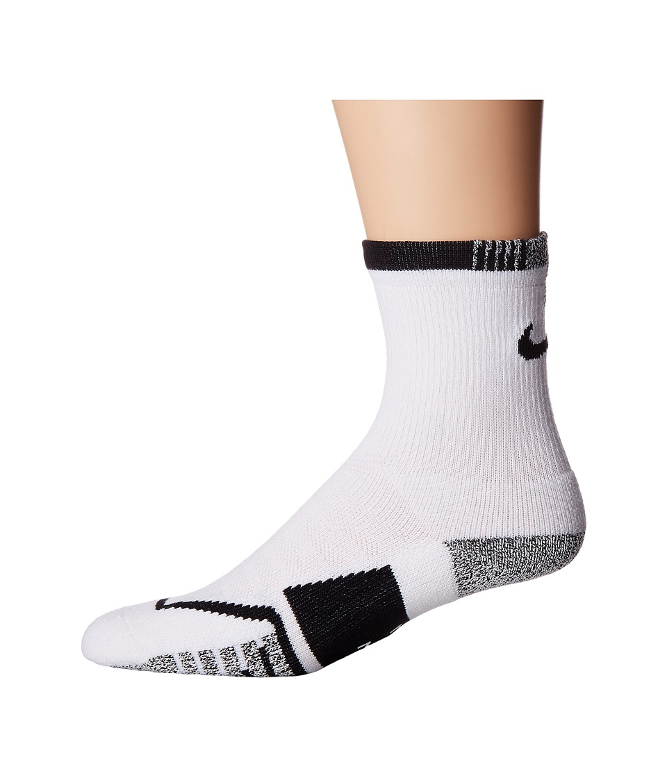 Nike NIKEGRIP Elite Crew Tennis Socks (White/Black) Crew Cut Socks Shoes