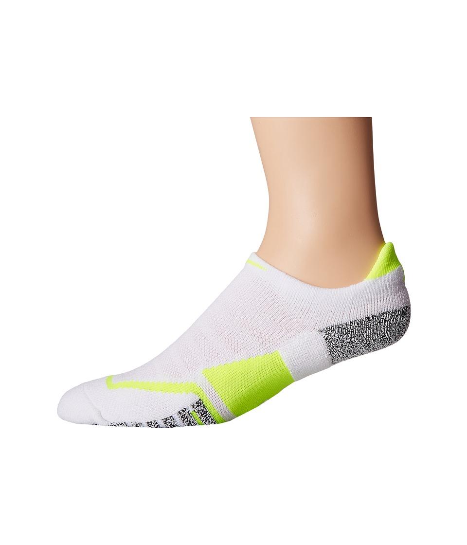 Nike NIKEGRIP Elite No Show Tennis Socks (White/Volt/Volt) No Show Socks Shoes