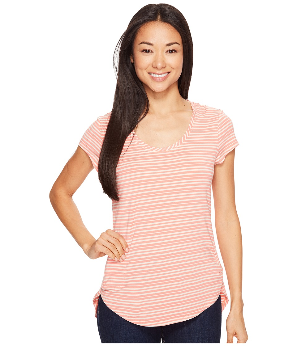 Columbia - All Who Wandertm Short Sleeve Top (Lychee Stripe) Women's Short Sleeve Pullover