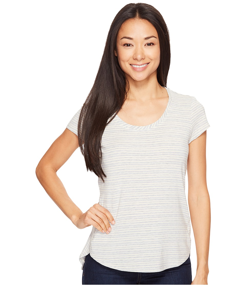 Columbia - All Who Wandertm Short Sleeve Top (Chalk Heathered Stripe) Women's Short Sleeve Pullover