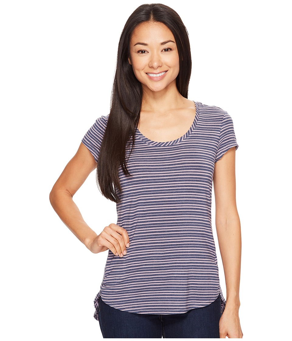 Columbia - All Who Wandertm Short Sleeve Top (Sparrow Heathered Stripe) Women's Short Sleeve Pullover