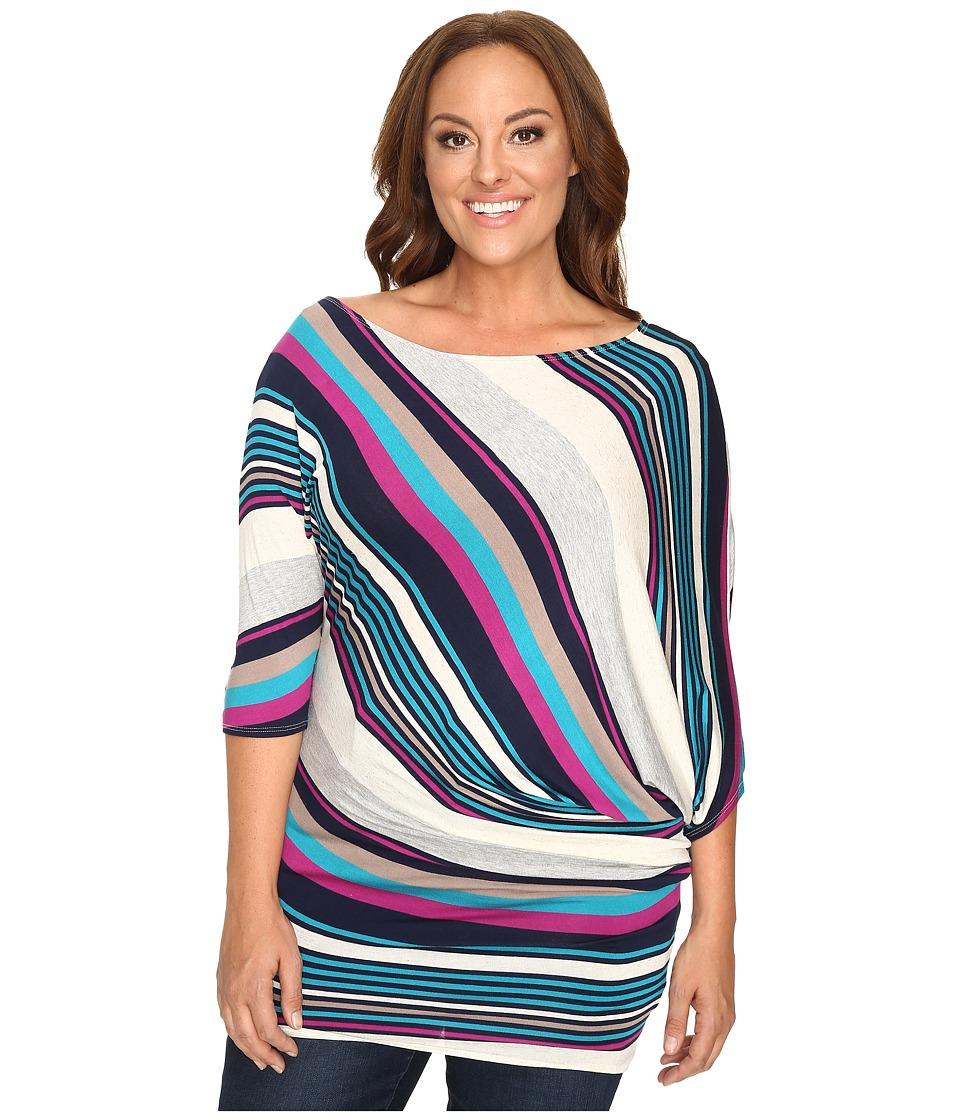 Christin Michaels - Plus Size Mika 3/4 Sleeve Striped Top (Multi) Women's Dress