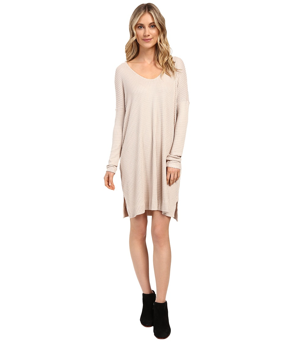 Culture Phit - Charlie Long Sleeve Waffle Dress (Oatmeal) Women's Dress