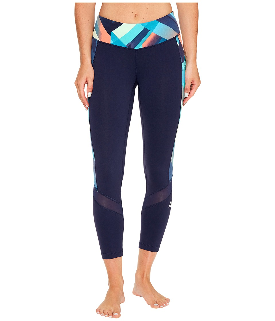 New Balance - Premium Performance Fashion Crop (Deep Ozone Gradient Plaid) Women's Capri