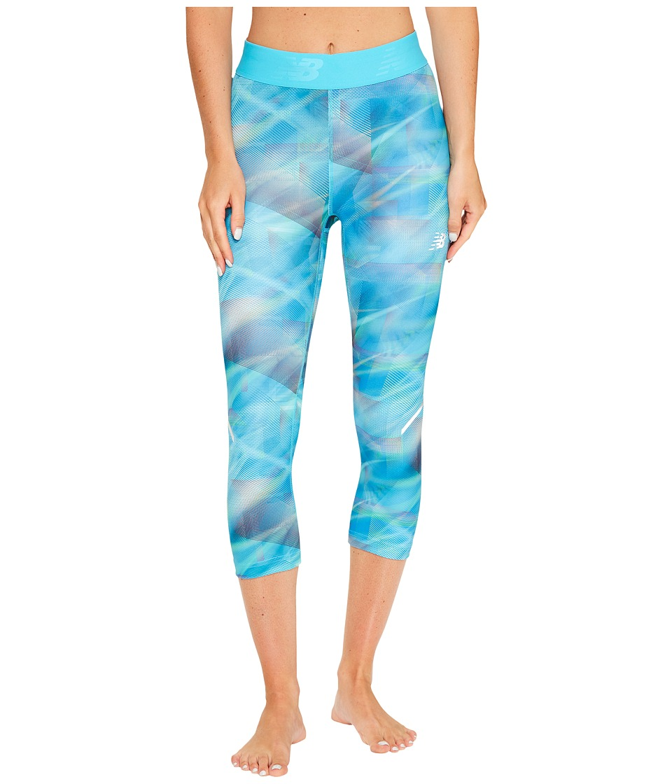 New Balance Printed Accelerate Capris (Cosmic Plaid) Women