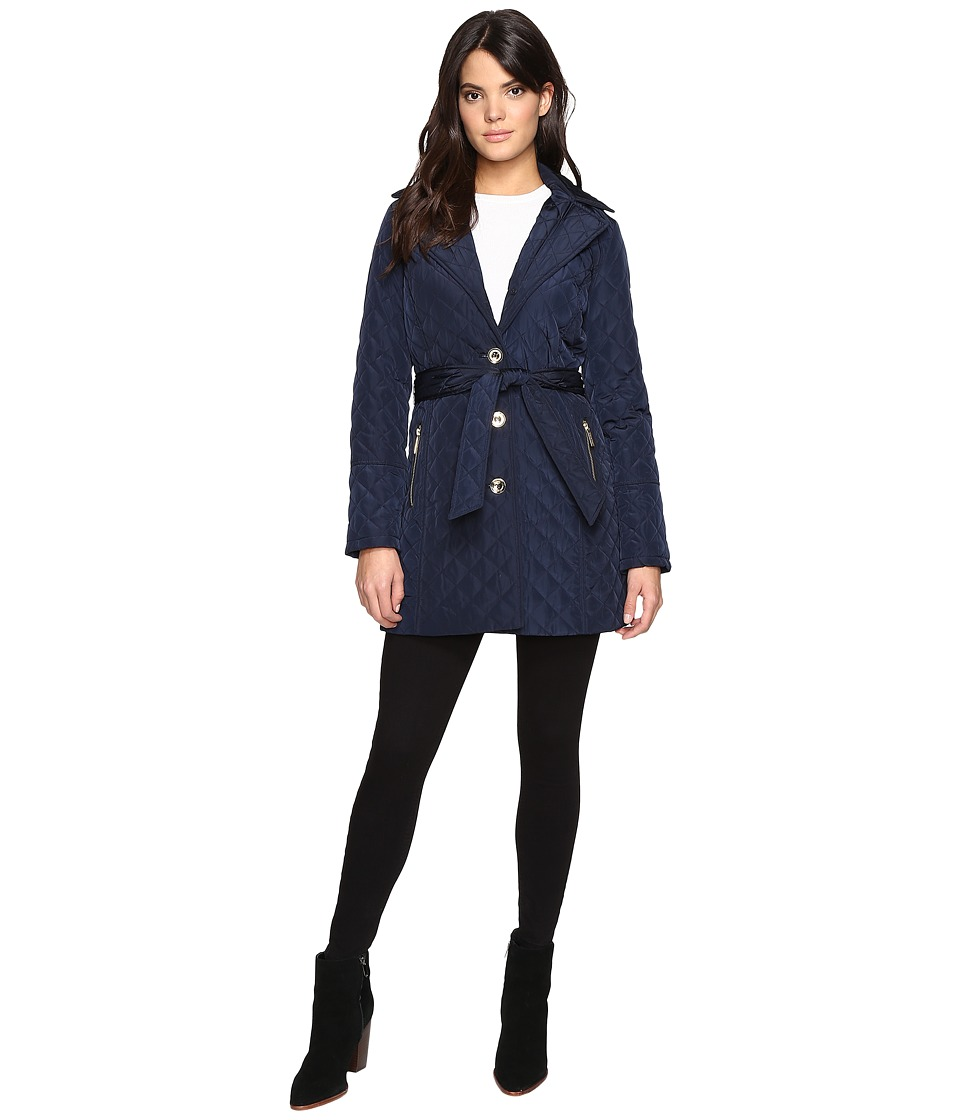 MICHAEL Michael Kors - Missy Long Belted Quilt M422034T (Navy) Women's Coat