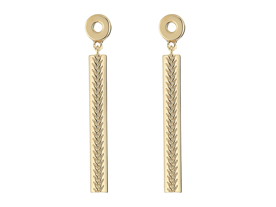Cole Haan - Basket Weave Linear Stick Earrings (Gold) Earring