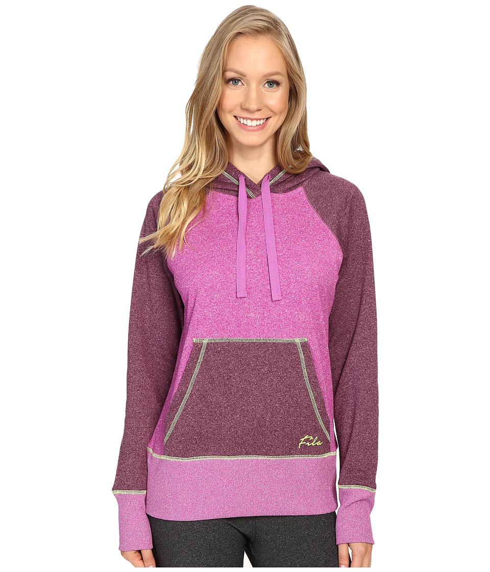 Fila - Arm Downy Fleece Hoodie (Aubergine Purple/Potent Purple/Granny Smith Green) Women's Sweatshirt