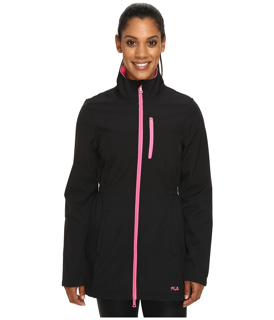 Fila - Get Wet Bonded Jacket (Black/Pink Panther) Women's Coat