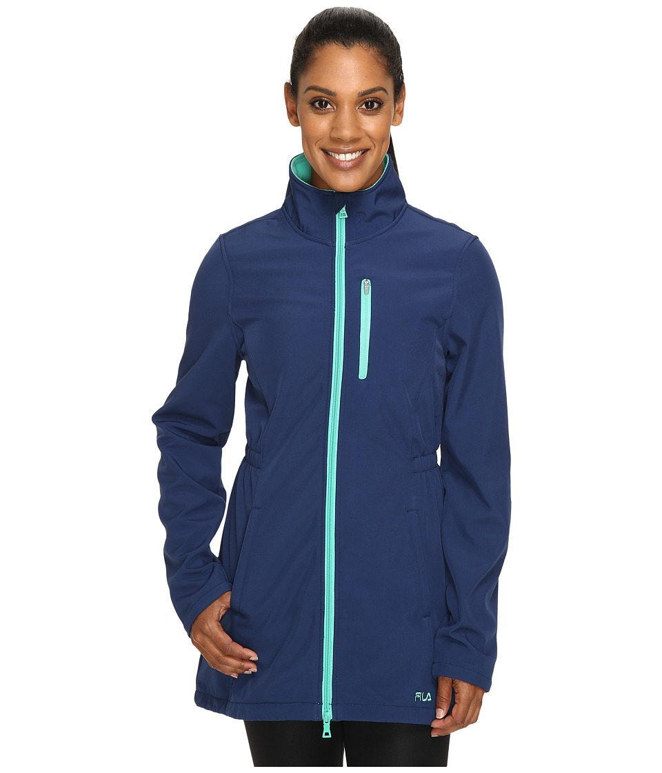 Fila - Get Wet Bonded Jacket (Estate Blue/Aqua Green) Women's Coat