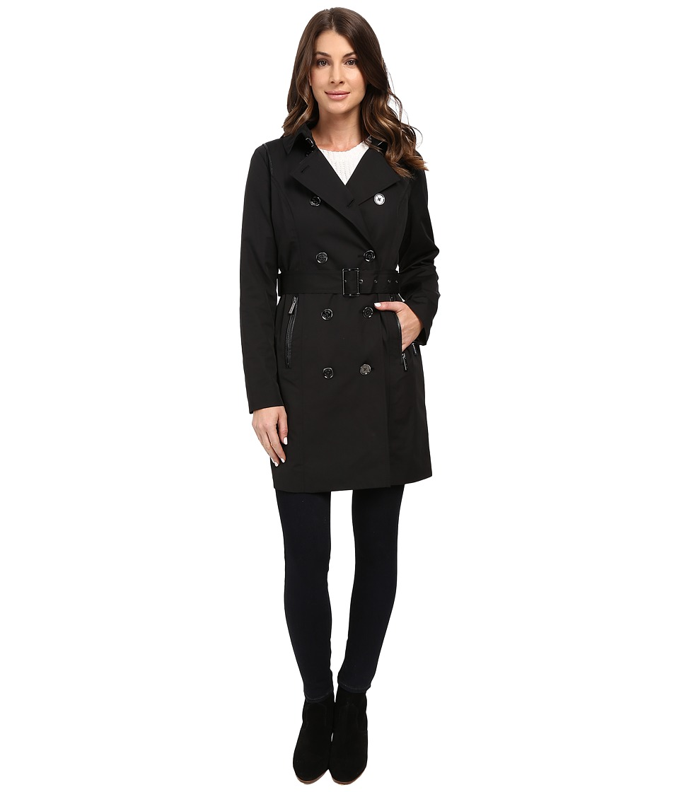 MICHAEL Michael Kors - Double-Breasted Belted Trench with Removable Warmer M722325T (Black) Women's Coat