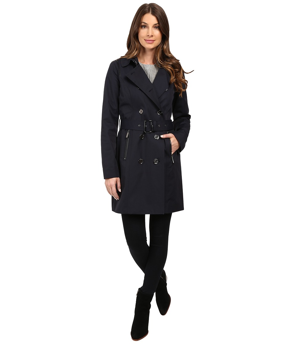 MICHAEL Michael Kors - Double-Breasted Belted Trench with Removable Warmer M722325T (Navy) Women's Coat