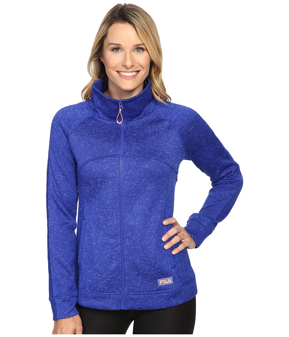 Fila - Knitwit Sweater Jacket (Atomic Blue Heather/Atomic Blue/Panish Peach) Women's Coat