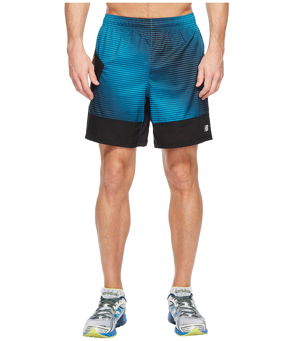 New Balance Hybrid Tech Shorts (Deep Ozone Blue Print) Men