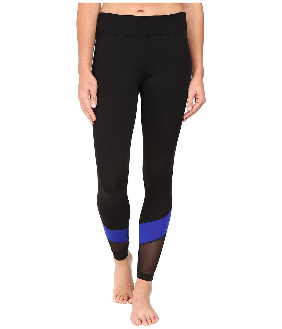 Fila - Spirited Long Tights (Black/Atomic Blue) Women's Casual Pants
