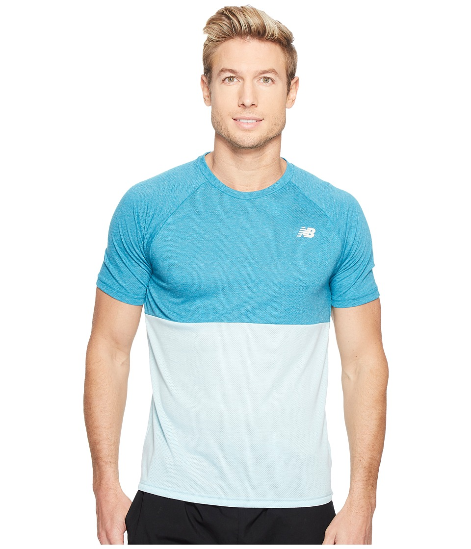 New Balance - CBK Breather Short Sleeve (Deep Ozone Blue Heather/Ozone Blue Glow) Men's Clothing