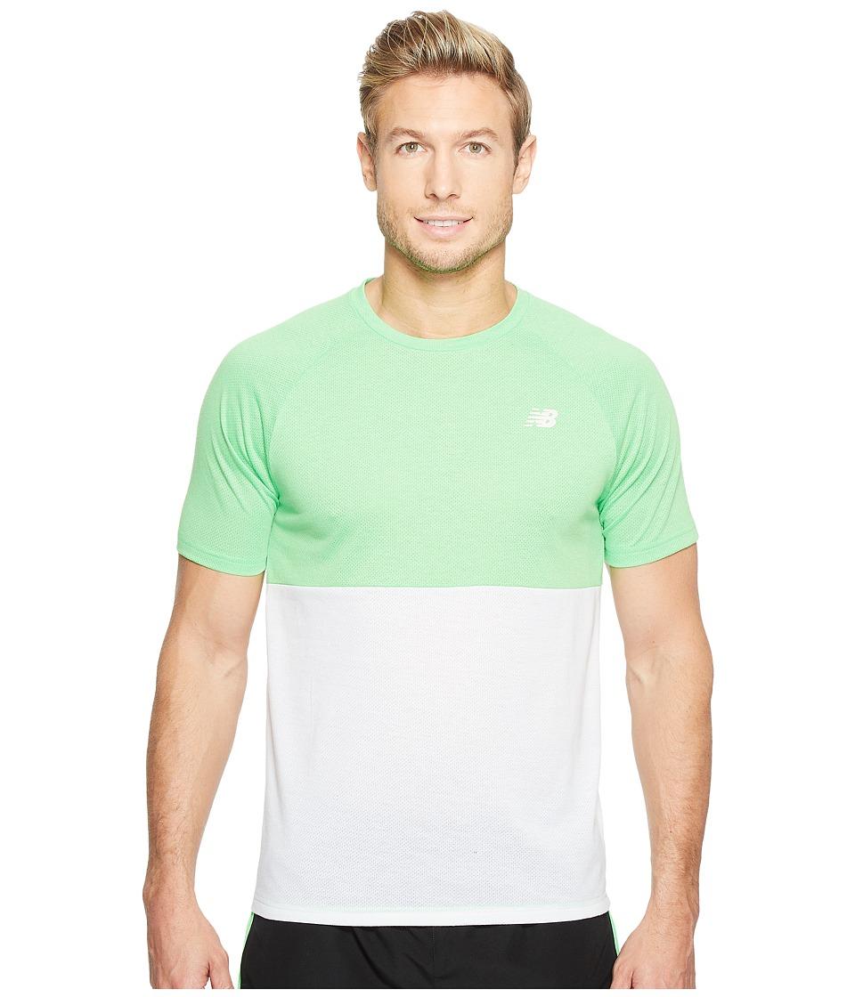 New Balance - CBK Breather Short Sleeve (Vivid Cactus Heather/Whtie) Men's Clothing